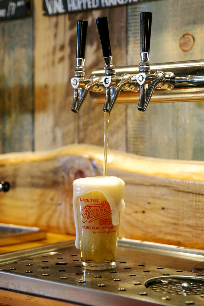 Tahoe Beer Blonde Ale 5.5% being poured. Brewed upstairs, house signature