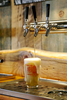 Tahoe Beer Blonde Ale 5.5% being poured. Brewed upstairs, house signature