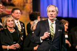 President Tom Sullivan speaks at the University of Vermont Foundation Campaign Gala. Corporate event design by Feats Inc.