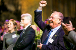 Guests applaud after President Tom Sullivan speaks at the University of Vermont Foundation Campaign Gala. Corporate event design by Feats Inc.