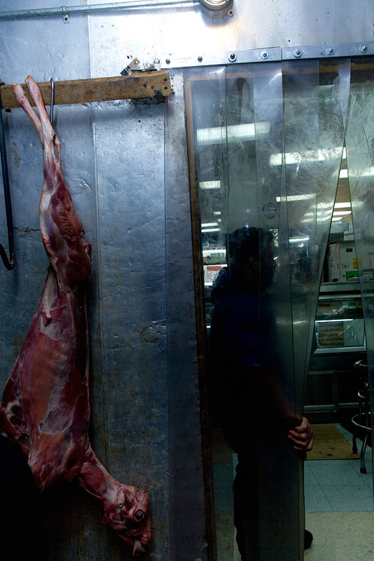 Mexican immigrant who works at a small Arabic {quote}Halal{quote} butchery in Queens, New York.