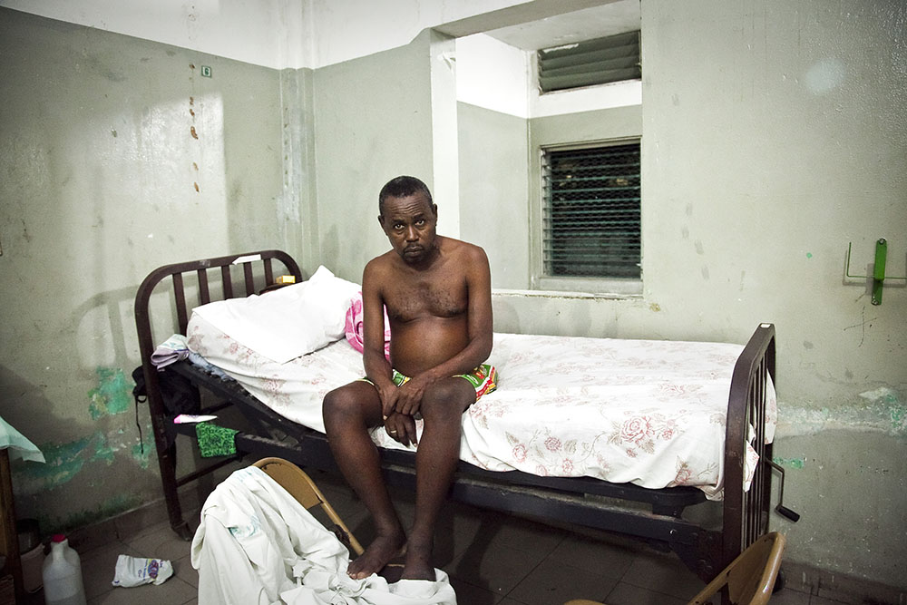 PORT-AU-PRINCE, HAITI - FEBRUARY 7: Gerald Jean suffers from tuberculosis at L'Hopital General in the Haitian capital of Port au Prince.