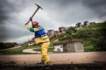 Construction sur la piste de moto, sur les anciens terrains d'entraînement militaires, Parque de Deodoro. Rio de Janeiro.