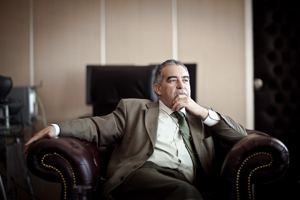 TUNIS, TUNISIA - APRIL 9 : Mokhtar Rasaa, President and General Manager of the Tunisian National Television Station in his office on 9 April, 2011 in Tunis, Tunisia.
