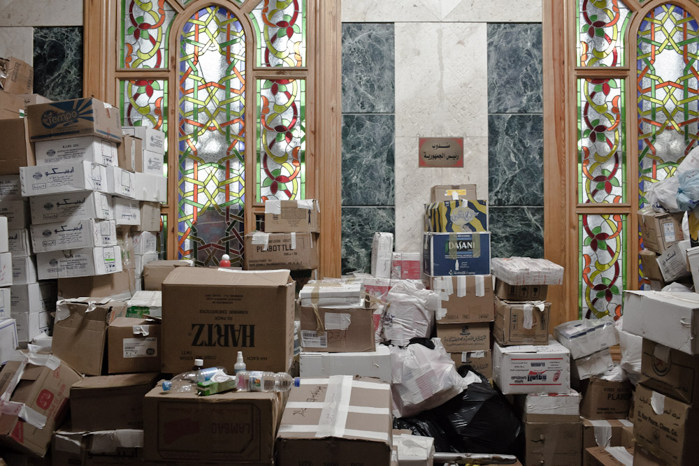 Omar Makram Mosque has become a temporary hospital and medical supply unit on Tahrir Square on December 5th. 2011.