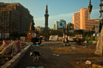 The mosque on a calm morning, after clashes.