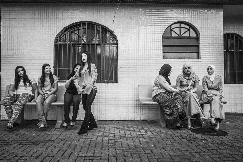 Brazilian women of Arab decent, or two different generations socialize outside Liga Islamica do Brasil, a Muslim community center in São Paulo.