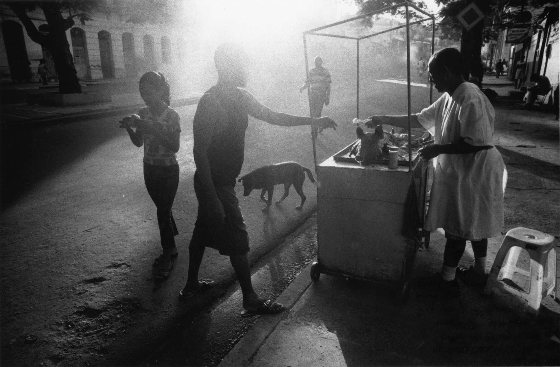 The morning after July 26th, Cuba's Independence Day, is night long celebration. People out in the streets, walking, breathing, sun beating, skin burning, and Wilson, hungry for breakfast, hungry for pork, asks me if I want some, I pass, as the dog passes by, he too, was hungry and tired.