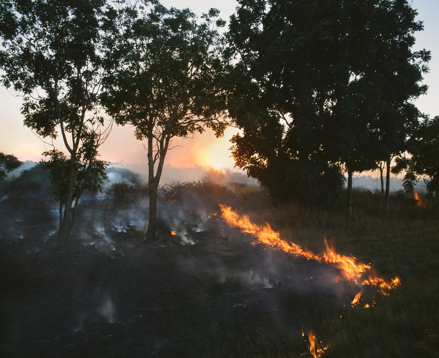 A fire, of unknown origins, burns part of the landscape along side a local road. In some cases, fires are controlled burns all as a mehtod of clearing the area of all the debris.Havana, Cuba