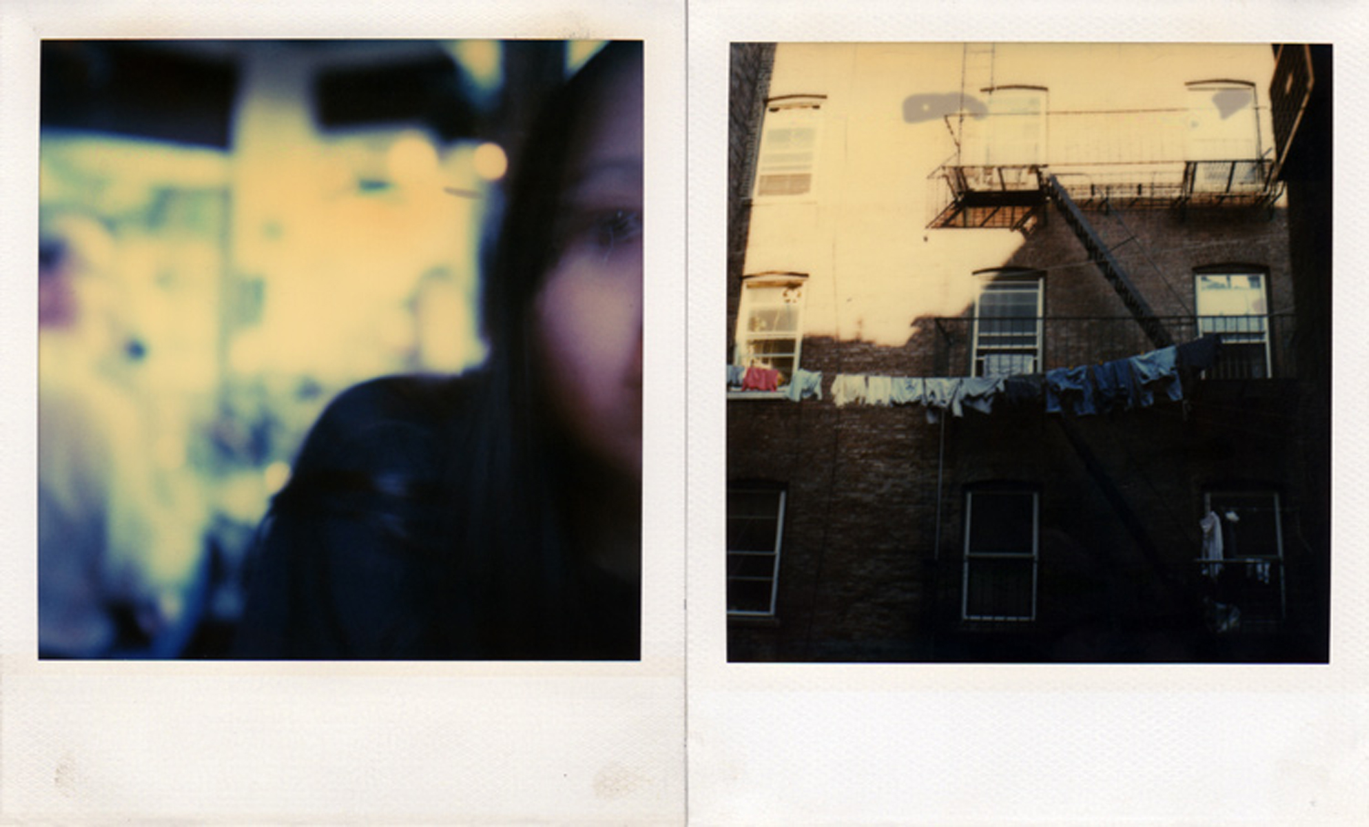 Suzanne at a cafe in North Beach, San Francisco, California, 1996 (left); The view from my rear wndow apartment - bedrooms and fire escapes, Nolita District, New York City, 1997 (right).