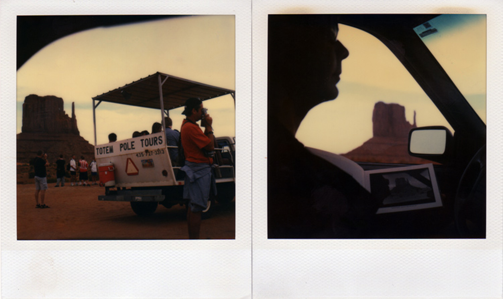Totem Pole Tours, Monument Valley, Utah, 2004 (left); A self-portrait within a self-portrait, accompanied by the book, {quote}Magnum Landscapes,{quote} by Raymond Depardon, Page 15, Monument Valley, Utah, 2004 (right).