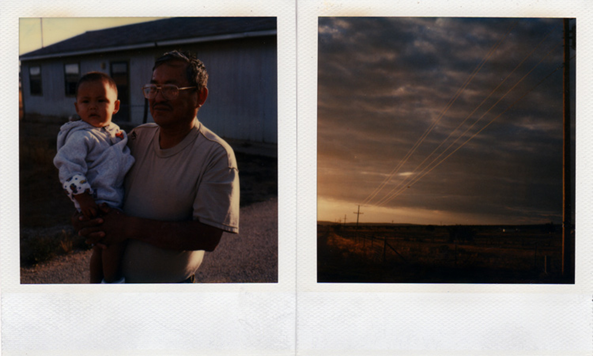Will Martinez with his grandson, Navajo Indian, Pine Ridge, New Mexico, 2004 (left); Sunset, Pine Ridge, New Mexico, 2004 (right).