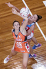SYDNEY, NEW SOUTH WALES - APRIL 01: Jo Harten of the Giants competes with Sarah Klau of the Swifts during the round seven Super Netball match between the Swifts and the Giants at Sydney Olympic Park Sports Centre on April 1, 2017 in Sydney, Australia.  (Photo by Brook Mitchell/Getty Images)