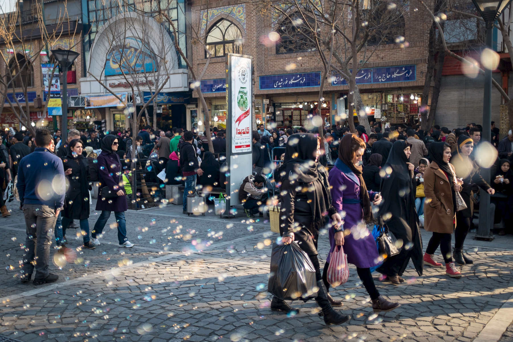 Shoppers outside the Grand Bazar in Tehran.
