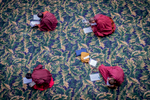 Monks preparing for an important exam at Larung Gar