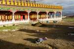 A devotee prostrates herself infront of the new temple being built in hounour of the founder of Yarchen, Achuk Rinpoche.  Rinpoche passsed in 2011.  Buddhists consider prostration an act of purification and revernece.  Pilgrims can often take months to reach their goals.