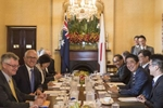 SYDNEY, NEW SOUTH WALES - JANUARY 14:  Japanese Prime Minister ShinzØ Abe (right centre)  and the Australian Prime Minister Malcom Turnbull (left centre) at a bilateral meeting at Kirribilli House on  January 14, 2017 in Sydney, Australia. The Japanese Prime Minister is on a three-day visit to Australia for bilateral talks.  (Photo by Brook Mitchell/Getty Images)