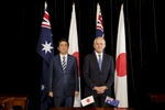 SYDNEY, NEW SOUTH WALES - JANUARY 14:  Japanese Prime Minister ShinzØ Abe and the Australian Prime Minister Malcom Turnbull at a joint signing ceremony at the completion of bilateral talks at Kirribilli house on  on January 14, 2017 in Sydney, Australia. The Japanese Prime Minister is on a three-day visit to Australia for bilateral talks.  (Photo by Brook Mitchell/Getty Images)