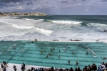 SYDNEY, NEW SOUTH WALES - MARCH 09:  The Olympic Aussie Sharks warm up for their match againt an International All-Stars team at Water Polo by the Sea at the iconic Bondi Icebergs on March 9, 2017 in Sydney, Australia.  (Photo by Brook Mitchell/Getty Images)
