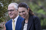 SYDNEY, NEW SOUTH WALES - MARCH 02:  New Zealand Prime Minister Jacinda Adern and Australian Prime Minister Malcom Turnbull arrive at Kirribilli House on March 2, 2018 in Sydney, Australia. The New Zealand Prime Minister is on a two-day visit to Australia to attend the Australia New Zealand Leadership Forum. The annual Australia New Zealand Leaders' Meeting recognises the significance of the connection between the two countries.  (Photo by Brook Mitchell/Getty Images)