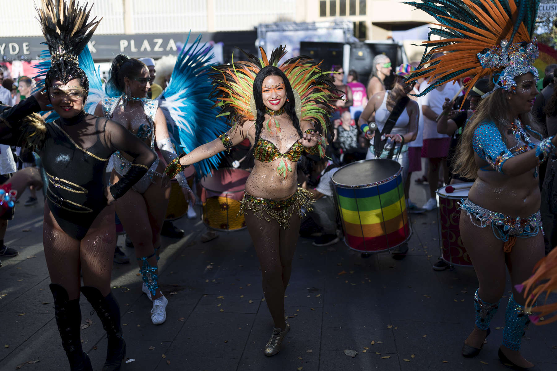 SYDNEY, NEW SOUTH WALES - MARCH 03:  Carinval dance on Oxford Street before the start of the 2018 Sydney Gay & Lesbian Mardi Gras Parade on March 3, 2018 in Sydney, Australia.  The Sydney Mardi Gras parade began in 1978 as a march and commemoration of the 1969 Stonewall Riots of New York. It is an annual event promoting awareness of gay, lesbian, bisexual and transgender issues and themes.  (Photo by Brook Mitchell/Getty Images)