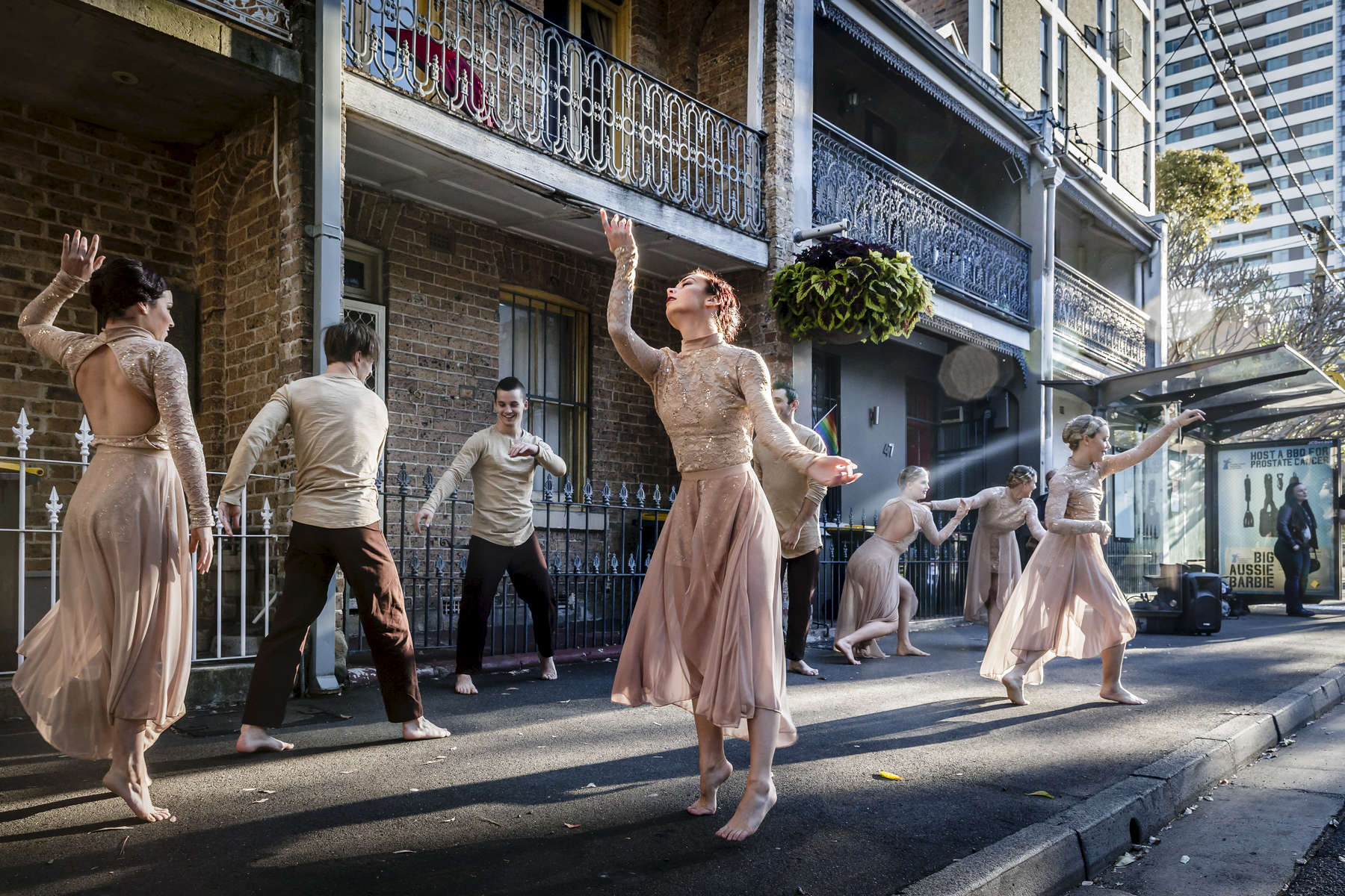 Members of the Primal Dance Company perform on Stanley Street, Darlinghurst, as part of the Sydney Fringe Festival on 03 September, 2016