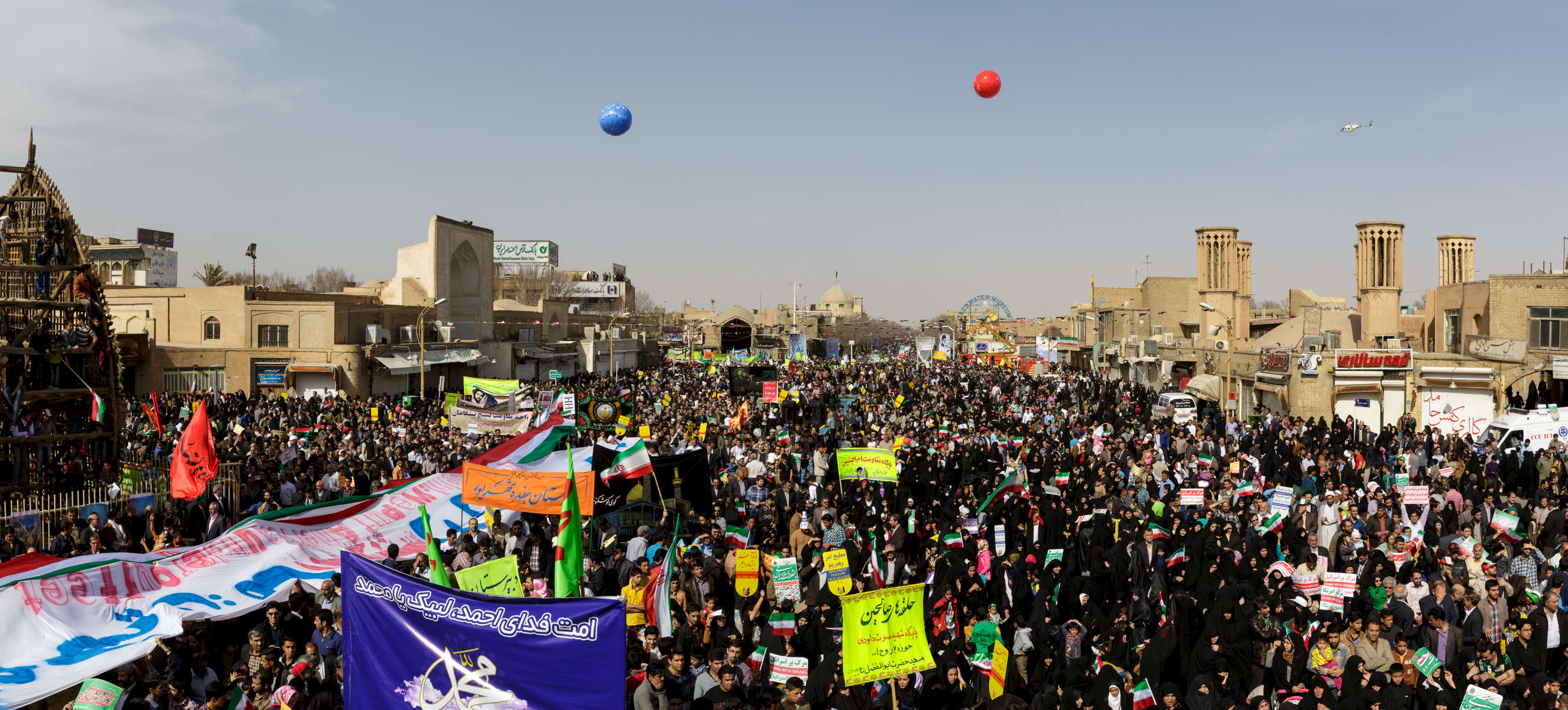 Protestors at a rally on Febuary 11th for the 36th anniversary of the Islamic revoloution, in Yazd, Fars province.  The city has a population of around one million.  Perhaps 20,000 turned up for the tightly controlled exercise in government propoganda.