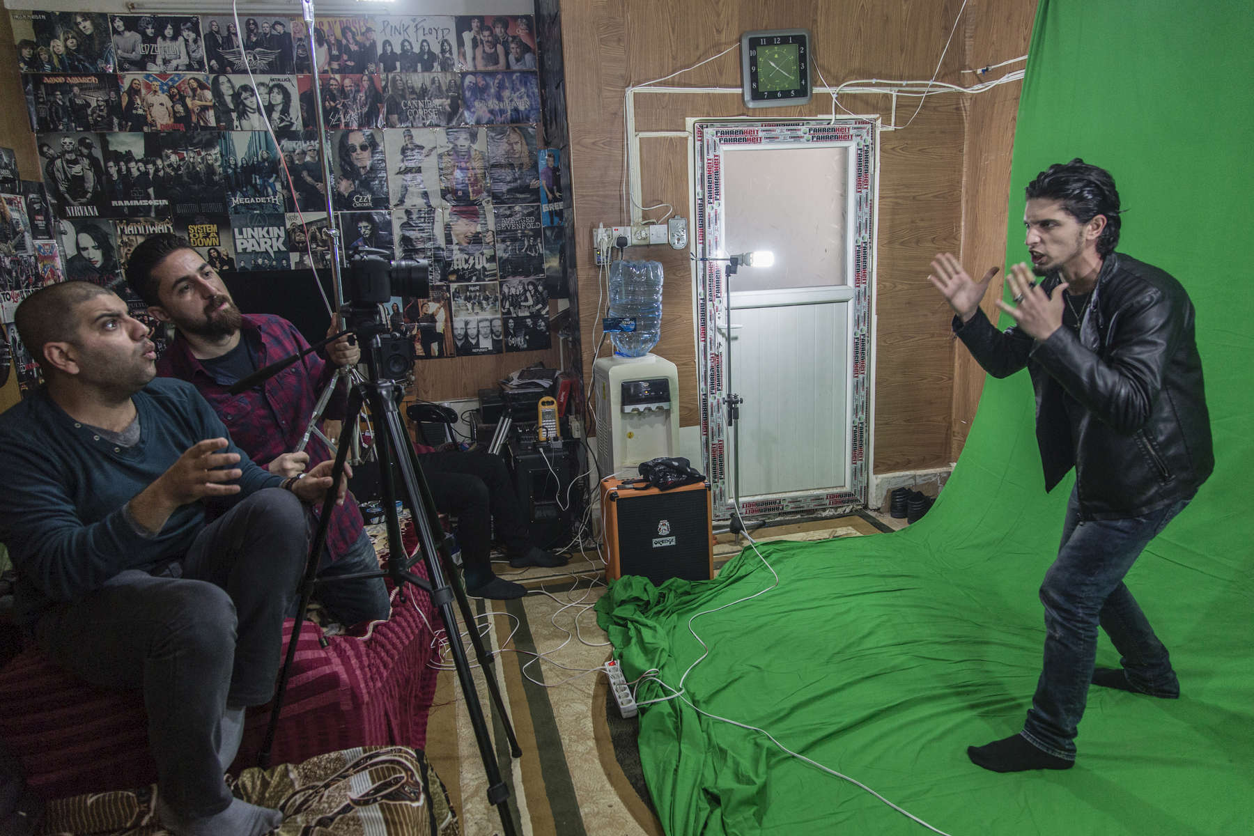 02/04/2016 -- Kirkuk, Iraq -- The Metal band make a video clip for their Song (Nation of dogs)Dark Phantom is the only Metal band in Iraq. They based in Kirkuk and the members are Kurds, Arab, Turkmen.