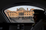 11/08/2016 -- Baghdad, Iraq -- A view of the station from the train's cockpit at sunset. Ali Al-Karkhi in the train's control room for a final inspection before it embarks on the 10 hour journey to Basra from Baghdad.