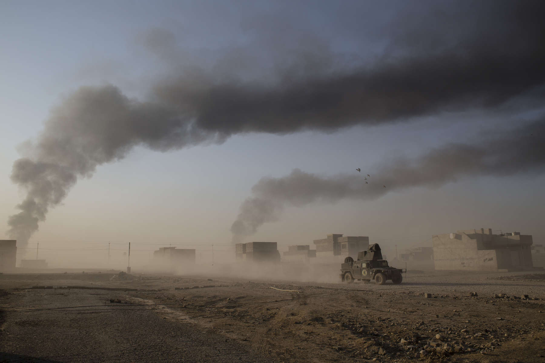 08/11/2016 -- Mosul, Iraq -- A smoke in the sky above Mosul.