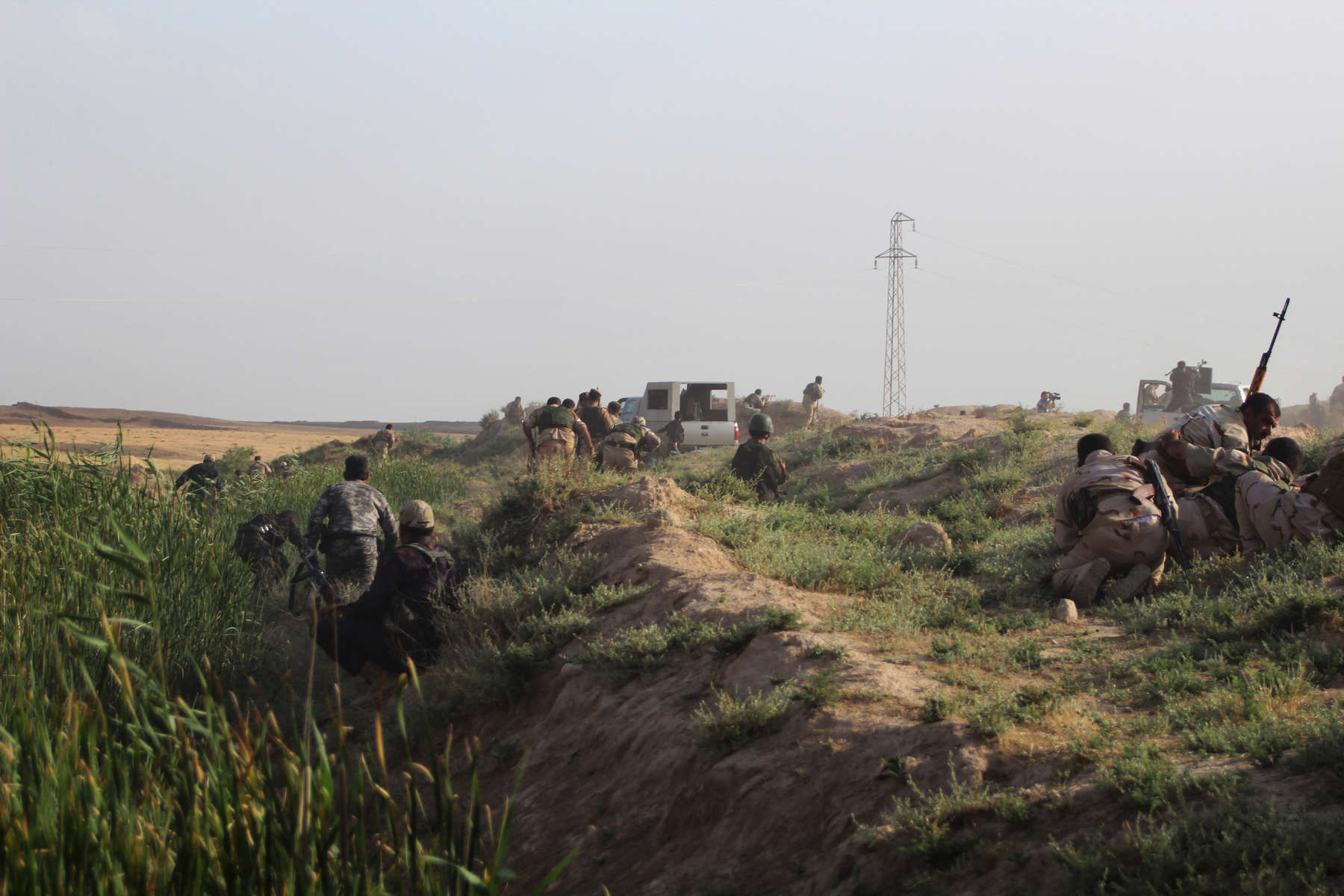 12/06/2014 -- Kirkuk, Iraq -- Fighting between Peshmerga, Iraqi police and ISIS fighters in the village of Mula Abdullah, south of Kirkuk.