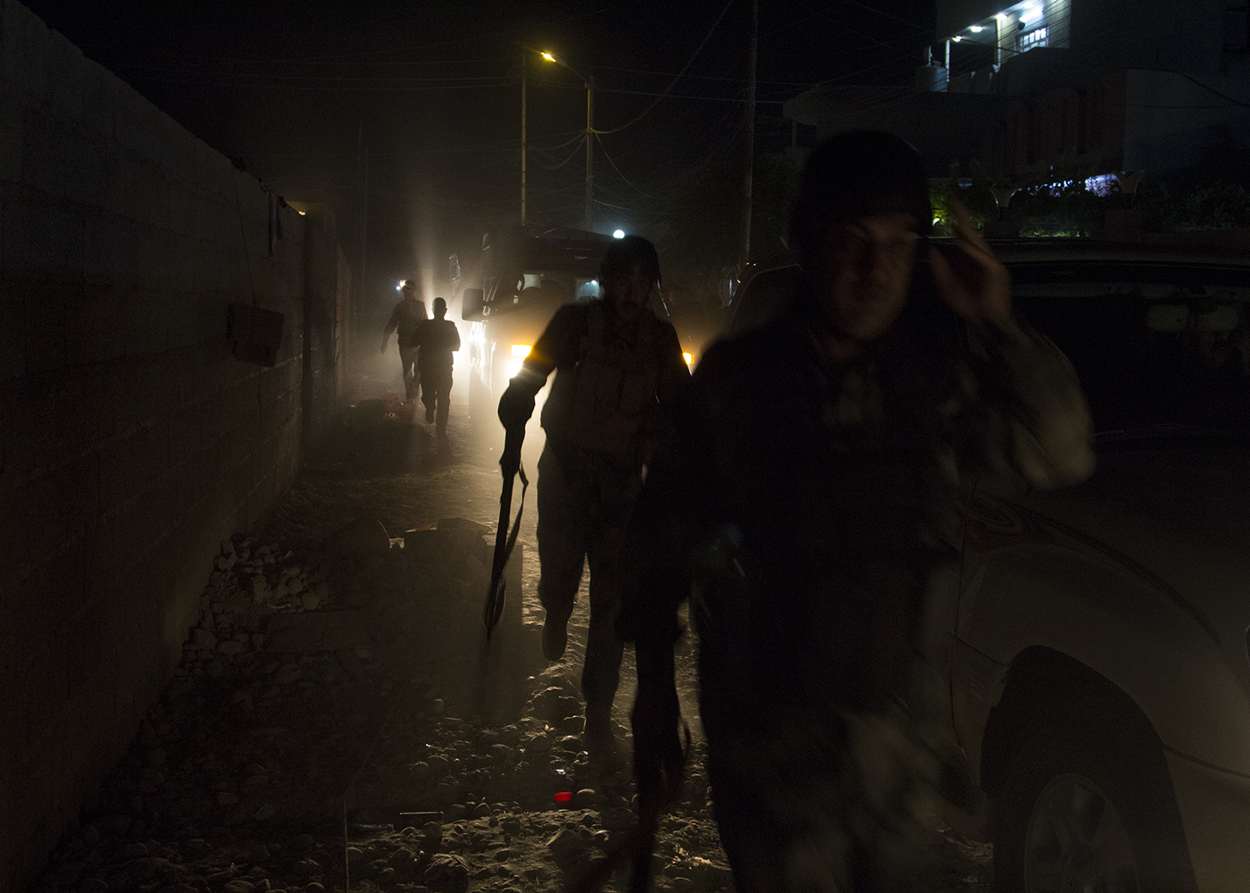 21/07/2015 -- Kirkuk-Iraq, Iraq -- Iraqi Police on Patrol go to the houses in Doorskak neighbourhood at the middle of night in south of Kirkuk.