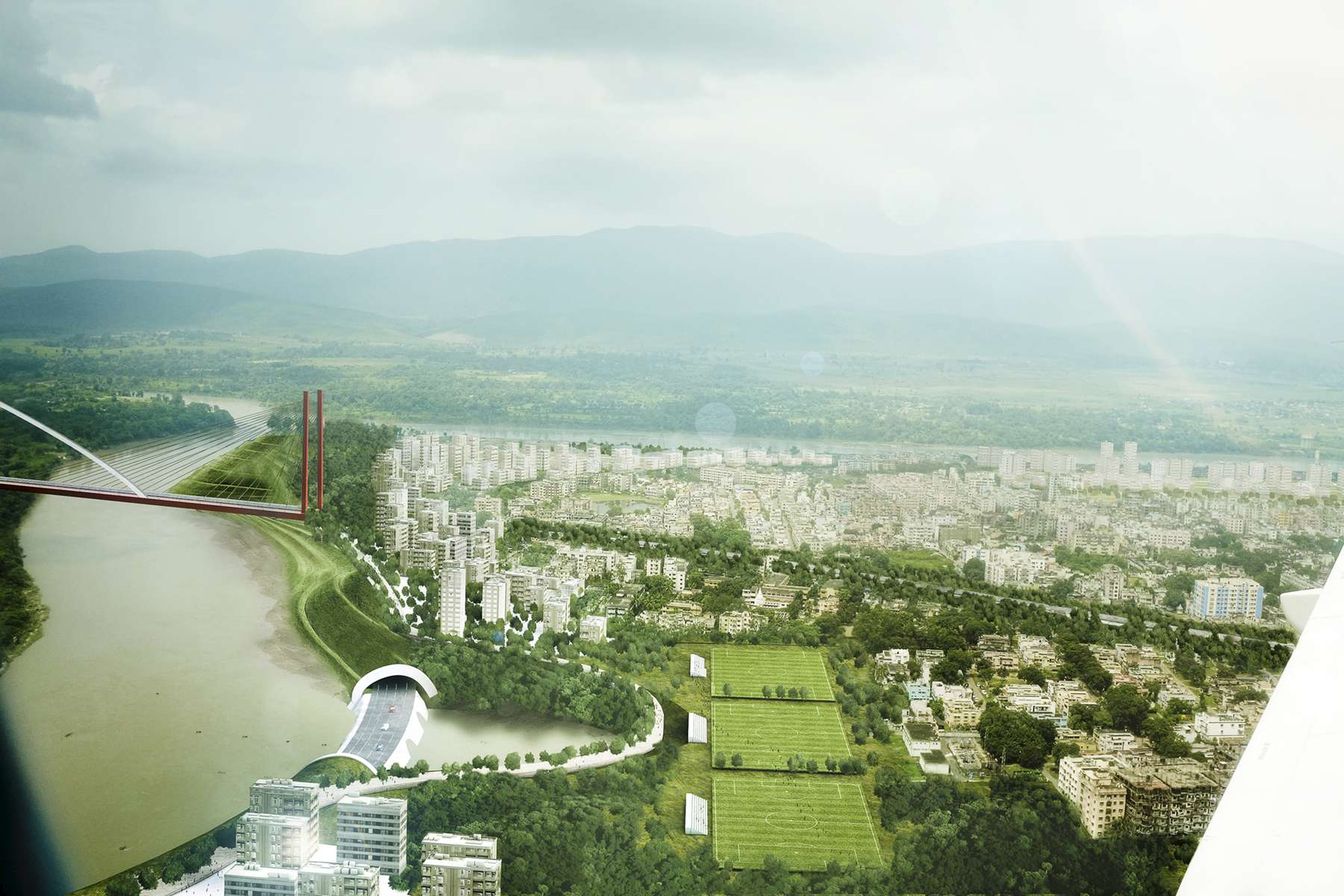 Jamshedpur, Jharkhand, India.Role + Responsibility:Jamshedpur 2057 is a conceptual action-based strategic masterplan for the City of Steel in Jamshedpur, India – the birthplace of the Tata Group industry. The masterplan was executed over a twelve-month period of time with a 47-person team led and directed by Jessica Jamroz. Jamshedpur is home base for Tata Group's two main industrial operations: Tata Steel (5th largest Steel producer in the World) and sister company Tata Motors (owns Jaguar, Land Rover). The City of Jamshedpur in 2014 housed approximately 500,000 people (employees of the company and population that lives in informal settlements surrounding housing). Our population projections, at a minimum, project that the city by 2057 would multiply to an estimated 2 Million plus people. With overcrowding, pollution, quality of life, climate change, transportation, and air and water quality issues already at their doorstep, the Tata family called upon the team to create a functional city operations plan for immediate brick-and-mortar type steps in anticipation for projected population growth and in order to become a sustainable city in the coming century. Urban Design Concepts (Vision Plan), Public Facilities, Landscape & Ecology, Hazard Mitigation, Pollution, Health, Housing & Community, Utility, Land-use, Zoning, Development Controls, Transportation & Infrastructure, Entertainment, Recreation and Attractions, and Marketplace & Economic Diversification issues were all addressed in intense detail, from a global and regional understanding down to the intricacies of infrastructure at a neighborhood and housing scale.Owner: Tata GroupArea: 64 Sq Km (roughly equivalent to 24 Sq Miles)Total Cost: UndisclosedChief Master Planner, Architect and Author: Jessica Jamroz (for FSA)Prime Architect and Master Planning Firm: Frederic Schwartz Architects (New York, NY, USA)Master Planning Engineer & Sustainbility Expert: ARUP Engineering (New York, NY, USA)Landscape & Ecology Arc
