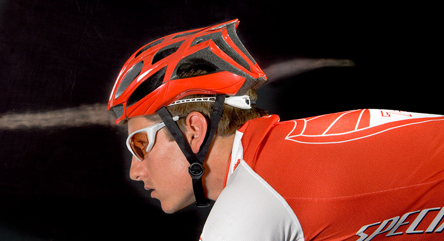 Helmet shot for Specialized Bicycle Component in MIT's windtunnel