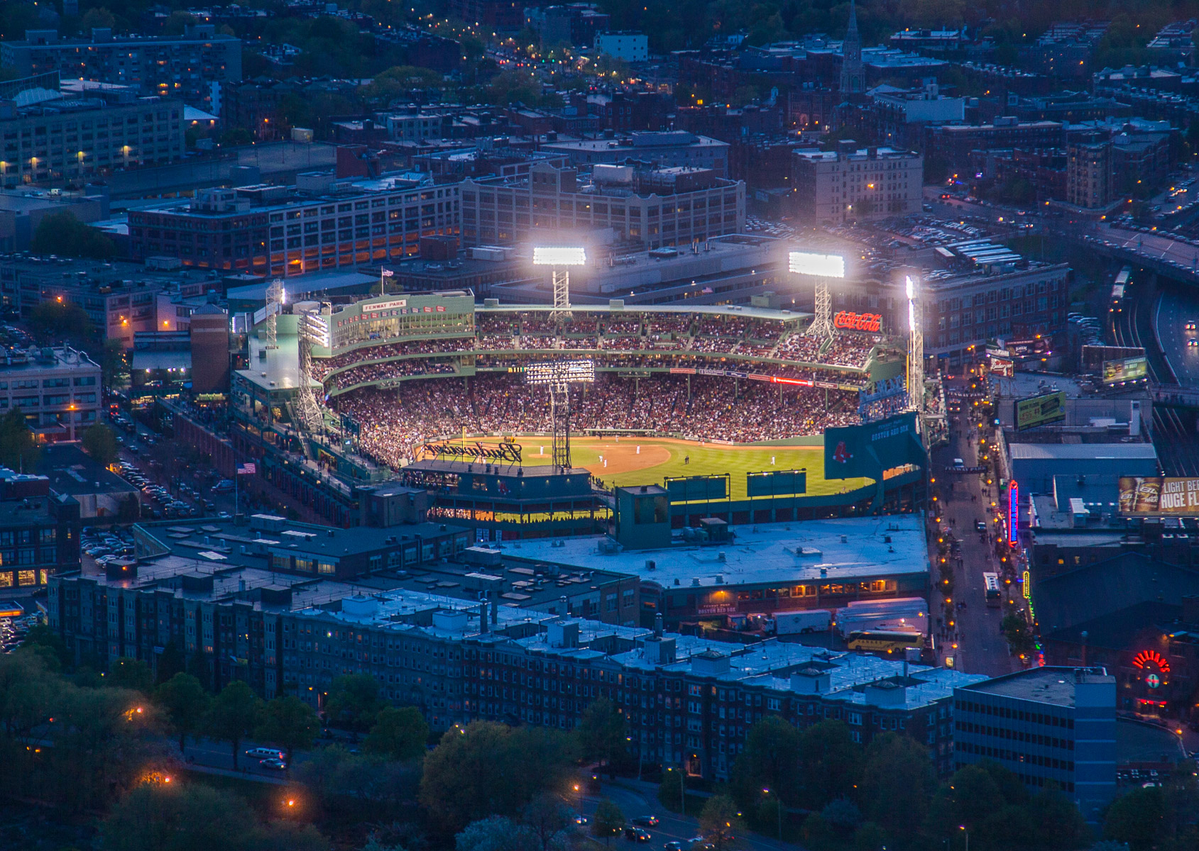 Fenway Park Night Aerial