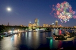 Nighttime Fireworks Panorama Photo of Boston showing Charles River and Back Bay
