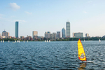 Panorama Photo of Boston showing Charles River, Back Bay and Sailboat
