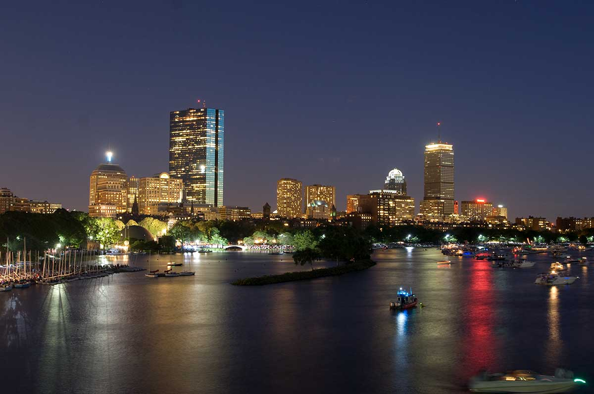 Nighttime Panorama of Boston Charles River showing Back Bay