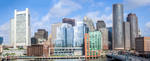 Panorama of Boston Financial District and Harbor