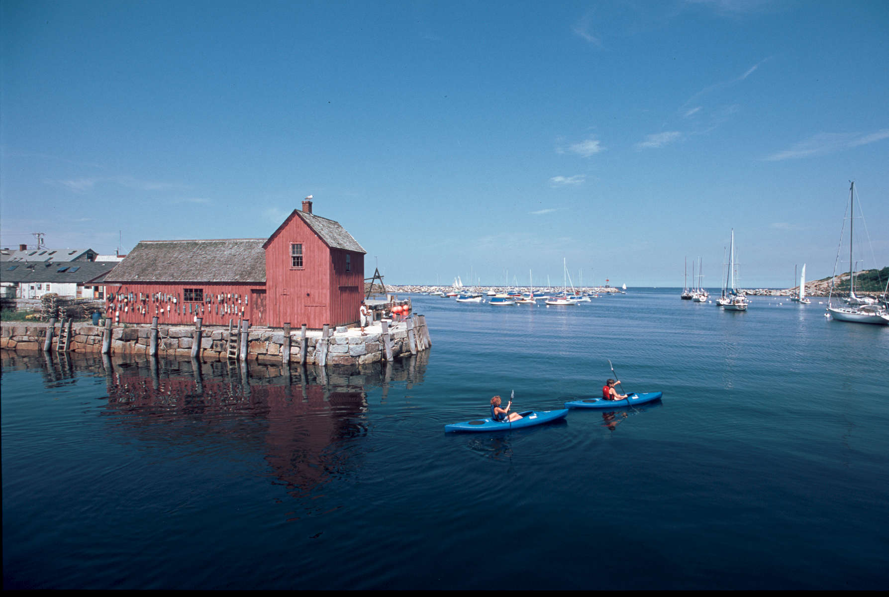 Rockport Harbor with kayakers
