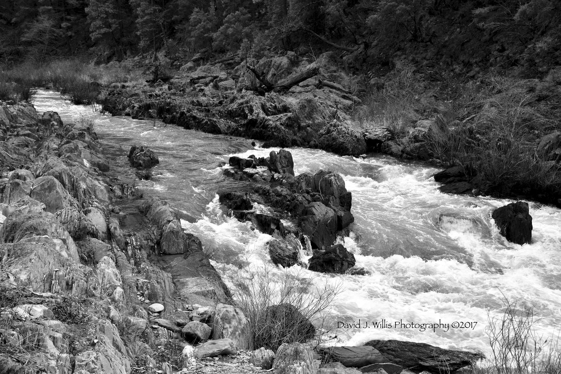 Indian Creek, Midstream Rocks, Fall, Plumas County