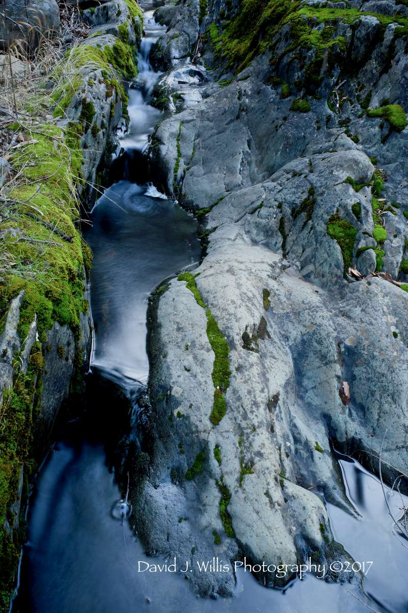 Rocks, Water, Moss, Indian Falls, Indian Creek, Winter, Plumas County
