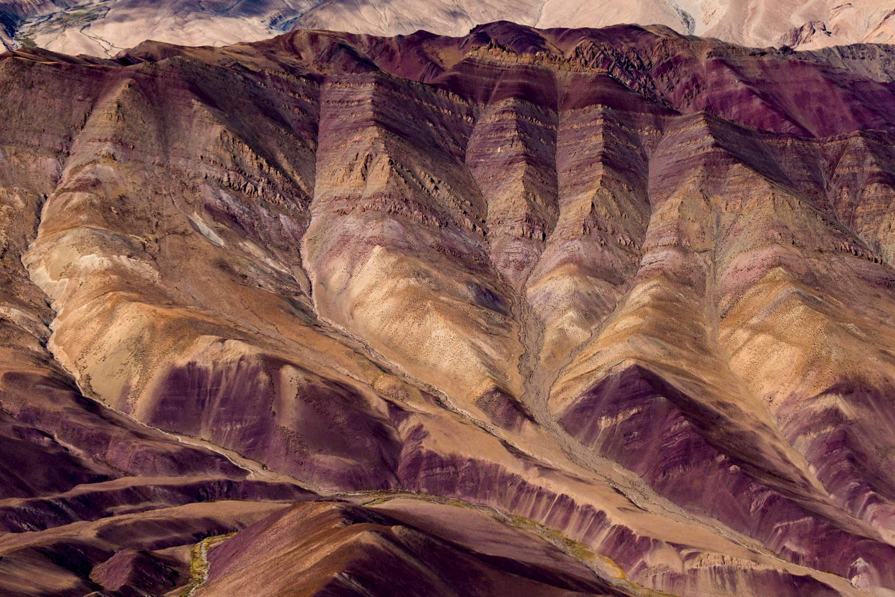 Aerial of colored mountains, Markha Valley, Ladakh