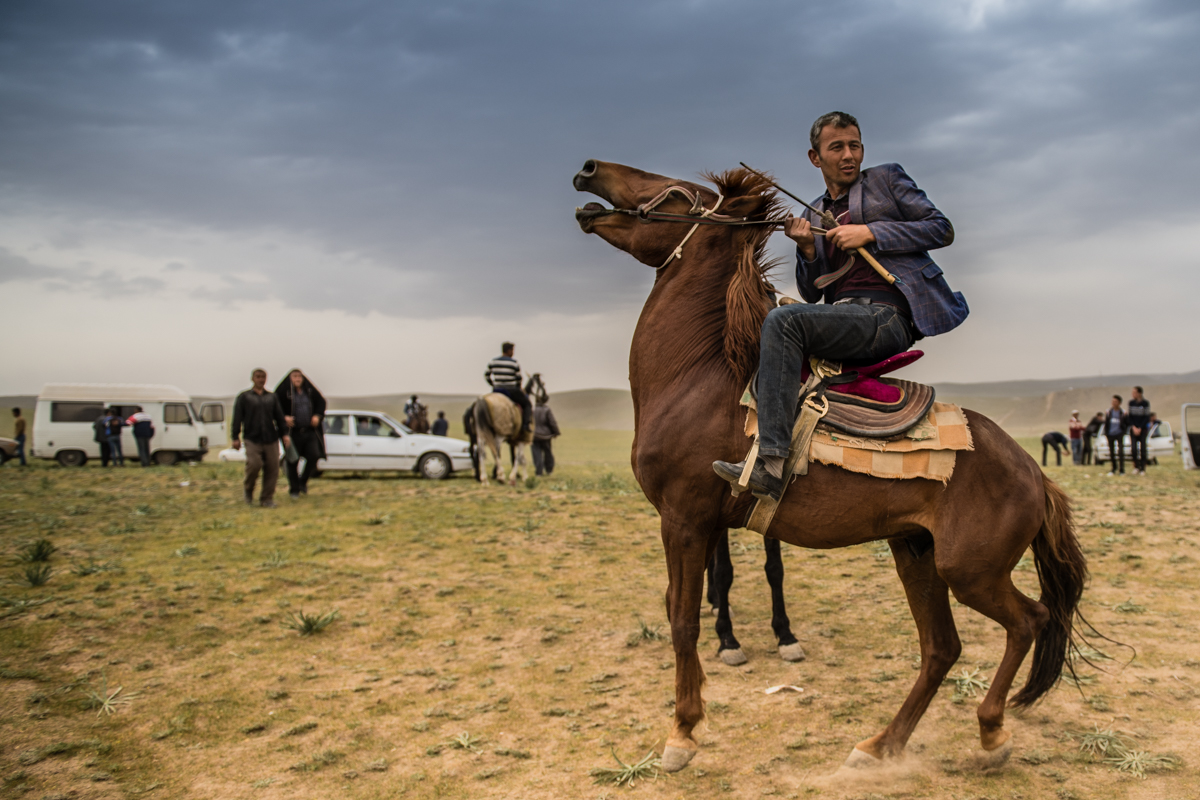 A rider does twirls after the Buzkashi game to show off for my camera.