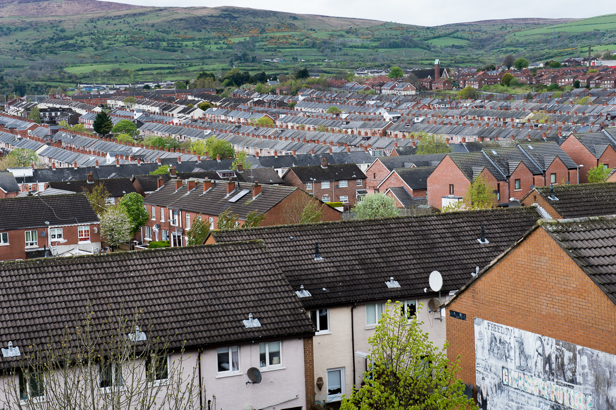 A view over the Ardoyne area of north Belfast, a small Catholic enclave that experienced a lot of violence during the Troubles. West Belfast is mostly Catholic, the east mostly Protestant, the south is the most affluent with pockets of Protestant working-class units and north Belfast is a patchwork of Catholic and Protestant areas.