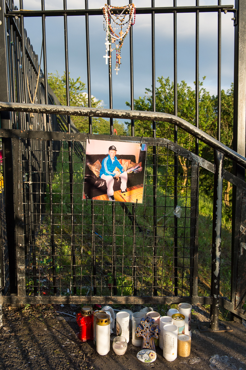 Shrine to a teenage suicide victim in the Catholic Ardoyne area of north Belfast. Northern Ireland's suicide rate is the highest in the UK and it continues to rise. Disadvantaged areas, in particular north and west Belfast, experience higher suicide rates and young men are particularly affected. Suicide is a complex issue with many possible causes. Research has shown that in Northern Ireland exposure to trans generational trauma may be an influencing factor in suicide by young people. Parents who are suffering from trauma related to the conflict can pass it on to their children.