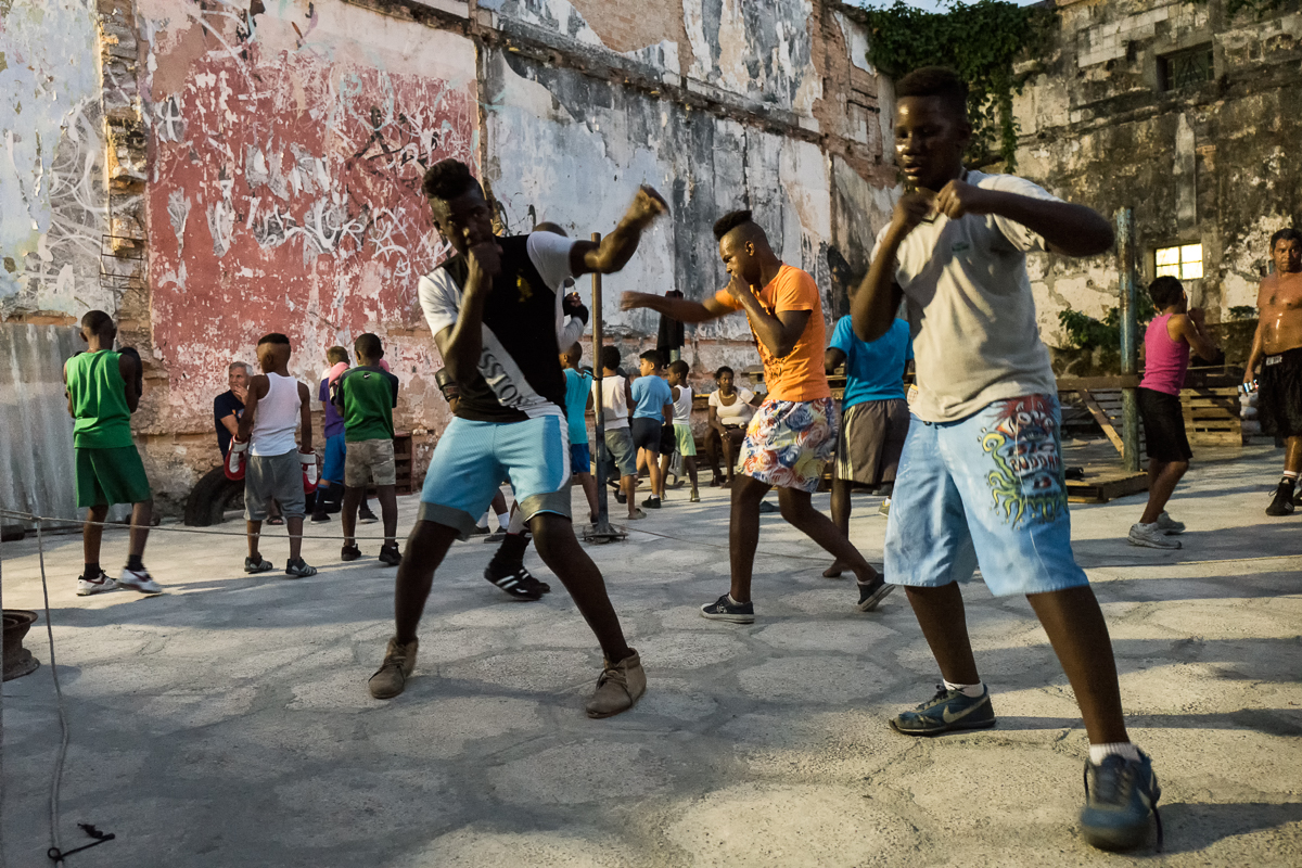 Centro Habana, Havana   Young boxers at an open air boxing gym in the neighborhood of Centro Havana. The infrastructure might be poor but the level of competence is high,  Cuban boxers are among the best in the world. Boxing is very popular and is seen as a way out of poverty.