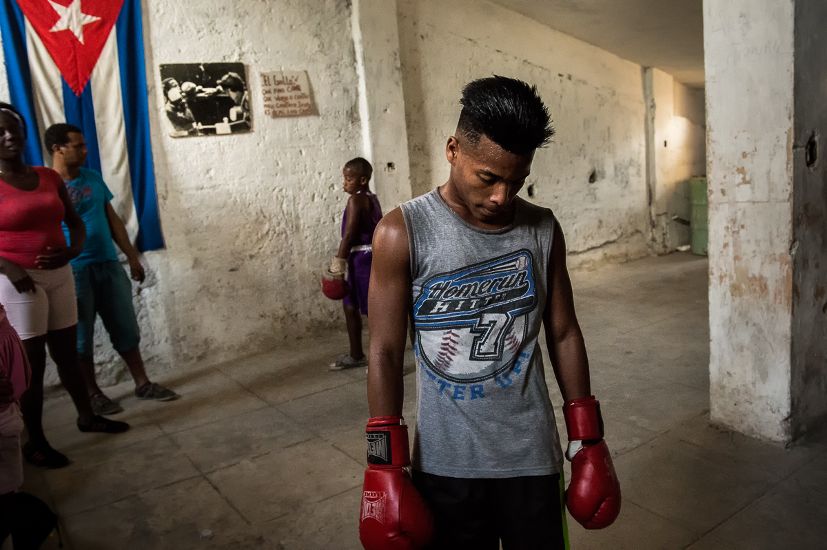Marianao, Havana   A young boxer at practice in a boxing gym at the Raúl Fernandez  sports complex in Marianao municipality. Boxing is highly popular in Cuba and is seen as a way out of poverty.