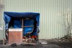 "Calais, December 2014 Barbershop ""Salon UK"" in the Tioxide jungle."
