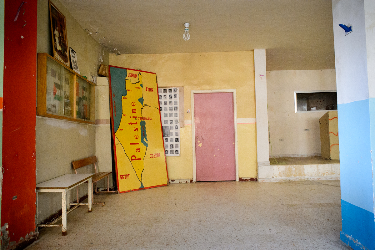 A map of Palestine stands in Shatila's community cen-ter.